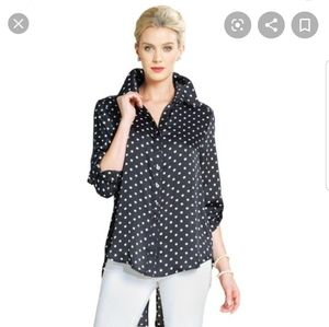 Clara SunWoo Polka Dotted High-low button down Med
